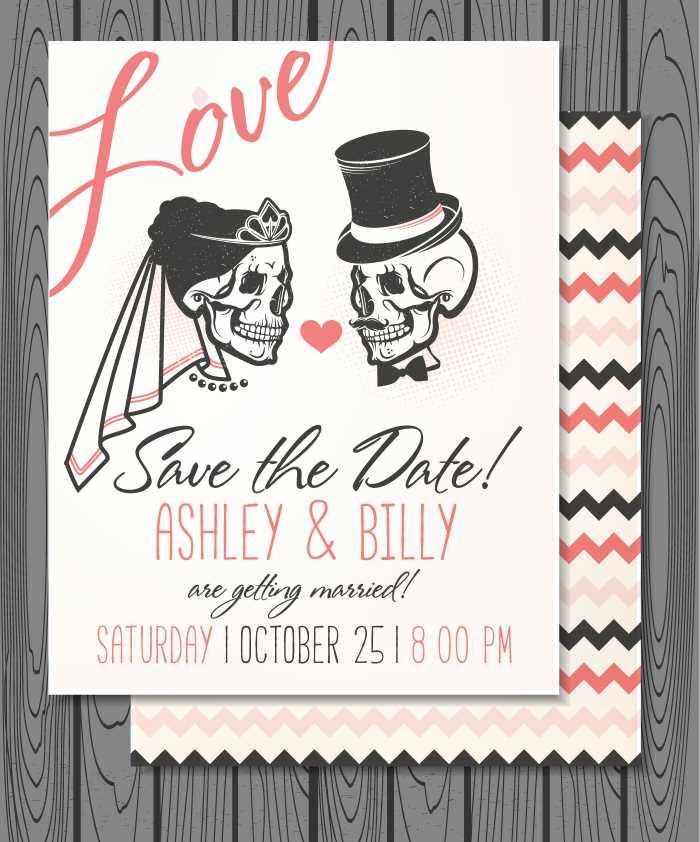 Skull Halloween themed wedding invitation